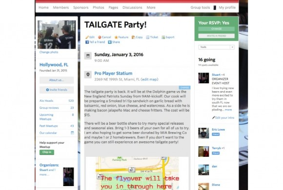 JANUARY 3, 2016 TAILGATE PARTY FOR THE MIAMI DOLPHINS