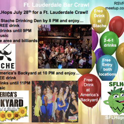 July 28 Ft Lauderdale Mini Bar Crawl, starting at Stache at 8PM